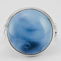 Light Blue Owyhee Opal Ring Size 7.5 US, 925 Silver, Handmade - $32.00