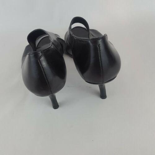 Nine West Kalsey D'Orsay Pumps Open Toe Black Leather 9.5M