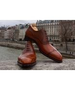 New Handmade Brown Cap Toe Lace Up Leather Formal Shoes For Men's - $158.99