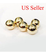 1 pc 1k solid yellow gold 8 mm round polish loose  bead  8MM - $34.65