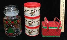 Christmas Holiday Tins Russ w/Handle Geese Potpourri Press Round Jar w/ ... - $18.80