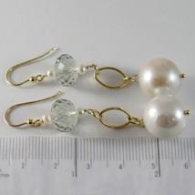 Yellow Gold Earrings 750 18K Hanging 6 cm, Prasiolite Cut Cushion & Pearl image 2