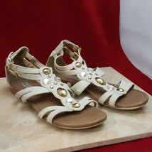 American Eagle Cream Jewelled Flat Sandals Size 7 - $17.99