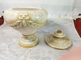"VINTAGE Porcelain Biscuit Candy Pot Jar Urn Covered Vase 7 3/4"" Tall x 6 1/4"" image 2"