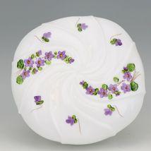 Vinatge Fenton Art Glass Violets in the Snow Large Wave Crest Box - Pre Logo image 4
