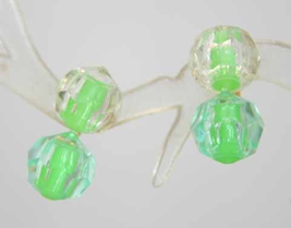 Chartreuse Plastic Pot-it Bead clip Earrings 1950s vintage - $9.95