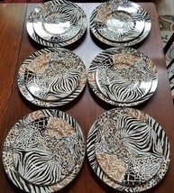 Sasaki Kenya Animal Print Dinner (6) Salad (6) Plate Nicholas Biscardi CARE - $120.00
