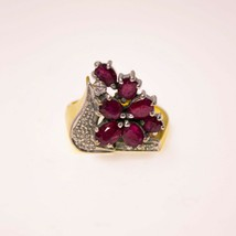 Solid 18ct Gold Ruby Ring Womens Yellow Gold Cluster BHS - $1,226.48
