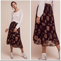 New Anthropologie Floreat Oralie Metallic Midi Skirt $128 Size 6 - $53.46