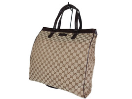 Auth GUCCI GG Pattern Canvas Leather Browns Tote Bag GS1913 - $389.00