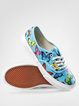 Vans Authentic Slim Butterflies Scuba Blue Shoes Womens 10.5 27 Cm Nib Mens 9 - $37.36