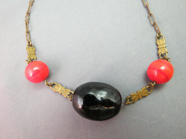 Victorian Pendant Necklace Red Orange Swirl Beads Large Nugget Stone Brass SALE! - $69.29