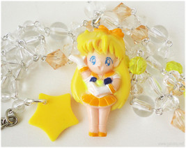 Sailor Venus Necklace, Beaded Transparent Yellow and Orange Chain with F... - $38.00