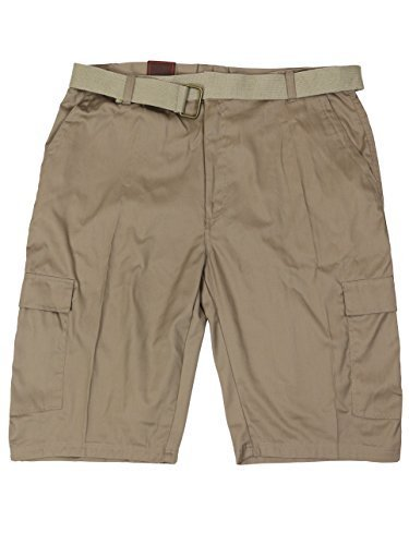 LR Scoop Men's Casual Golf Belted Cargo Dress Shorts Big Plus Sizes (42W, Khaki)