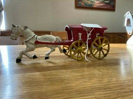 Antique Heavy Cast Iron Toy Horse & Ice Wagon Cart Stage Coach Hubley Vintage - $70.00