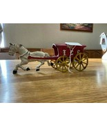 ANTIQUE HEAVY CAST IRON TOY HORSE & ICE WAGON CART STAGE COACH HUBLEY VI... - $70.00