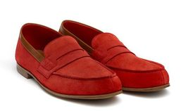 Bespoke Men's Suede Red Leather Loafer Moccasin Formal Dress Leather Shoes - $124.00+