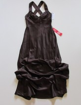 NWT Calvin Klein Cross Back Gown in Chocolate Brown Satin Dress 6 $199 - $42.00