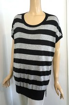Vince Long Gray Striped Scoop Neck Cap Sleeve Oversize Sweater M - $62.00
