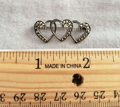 Vintage Sterling Silver Triple HEART with Marcasite Stones Brooch Pin - $23.99