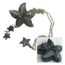 Torino Starfish Pewter Jewelry Set in Case With  Brooch Earrings And Nec... - $37.13
