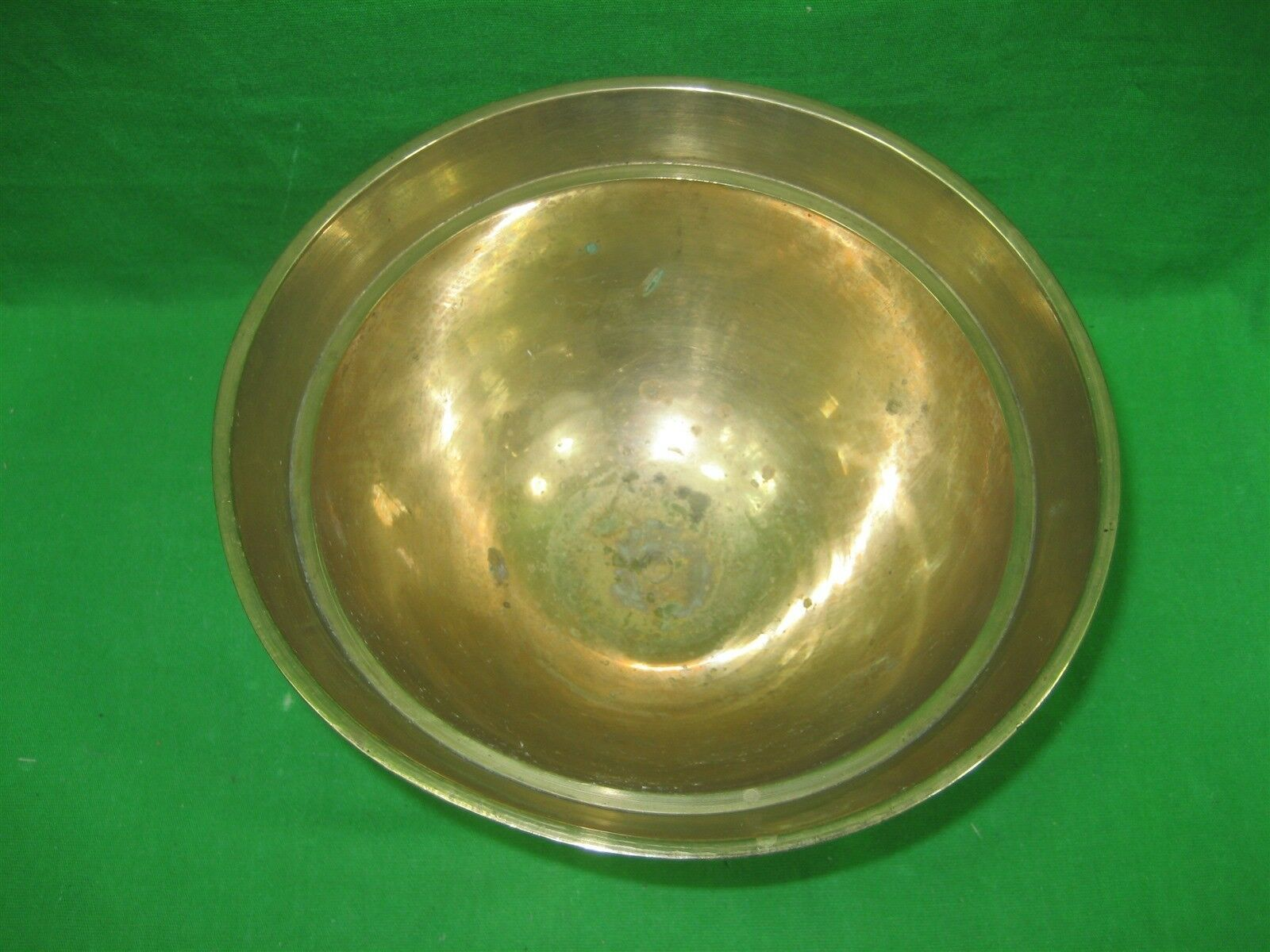 """Vintage Brass Etched Bowl Centerpiece on Pedestal Made In India Ornate 5"""" Tall image 3"""