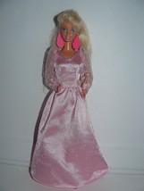 Mattel 1980's Blond Twist N turn Barbie Doll in pink satin long gown ear... - $9.41