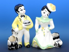 Vintage DeLee Hollywood California Pottery Figurine Planters Boy & Girl 1940s