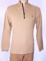 Polo Ralph Lauren Men's 1/4 Zip Sweater Mock Neck Beige Cotton SZ L NWT $90 - $52.17