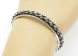 MEXICO 925 Sterling Silver - Vintage Rope Twist Detailed Cuff Bracelet -... - $67.51