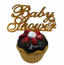 "3 pcs Baby Shower signs gold sparkle acrylic 5"" x 3"" cake top pick - $8.90"