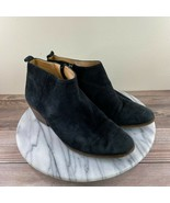J.Crew Sawyer Black Suede Leather Side Zip Stacked Heel Booties Womens S... - $29.95