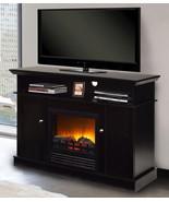 Black Fireplace TV Stand Media Console Wood Adjustable Shelf Entertainme... - $333.77