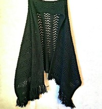 Crochet Shawl Warm Winter Wrap Fringed Black Scarf Evening Shrug Stole H... - $23.36