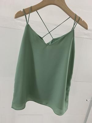 Sage green chiffon top
