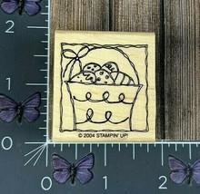 Stampin' Up! Easter Egg Basket Rubber Stamp 2004 Wood Mount #J123 - $2.72