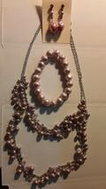 Vintage Pink Pearl Necklace, Bracelet & Dangle Pierced Earring Set - $19.78