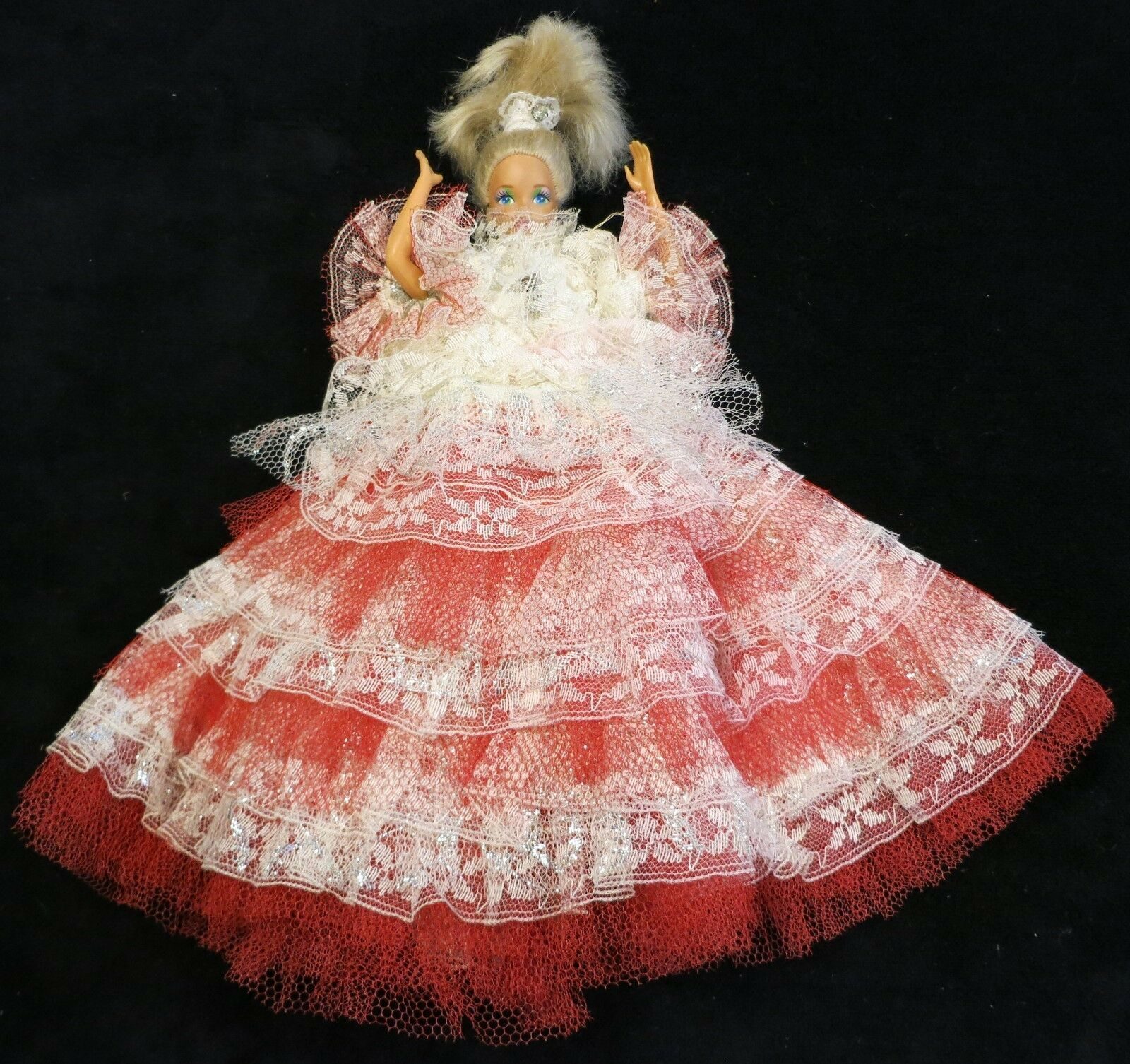 Mattel 1966 Barbie Wearing Red & White Dress Made in Taiwan - $6.67