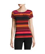Worthington Short-Sleeve Scoop Neck T-Shirt Sizes PS New Orange Multi Tulli - $16.99