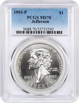 1993-P Jefferson $1 PCGS MS70 - Modern Commemorative Silver Dollar - $82.45