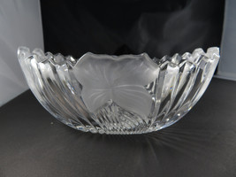 Heavy crystal glass planter frosted opaque decor Vintage Retro deco - $14.00