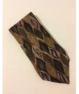 Mano Mano Geometric Neck Tie 100% Silk Olive Green Brown Gold - $35.00