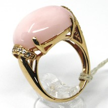 SOLID 18K ROSE GOLD RING, BIG CABOCHON OVAL PINK OPAL, DIAMONDS 0.23 CARATS image 2