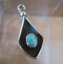 Sterling Silver Bracelet Charm  SOUTHWESTERN TURQUOISE  1950s Solid 3D  - $54.45