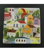Villa del Sol from Pier 1 Square Salad Luncheon Plate Hand Painted Earth... - $14.73