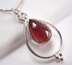Garnet Necklace 925 Sterling Silver Teardrop in Hoop Silver Dot Accents New - $17.58
