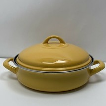 "Tivoli Enamel Covered Stainless Steel Skillet Dutch Oven Mustard Yellow 10"" - $39.99"
