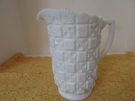 "WESTMORELAND WHITE MILK GLASS PITCHER 8.25""H OLD QUILT  - $16.78"