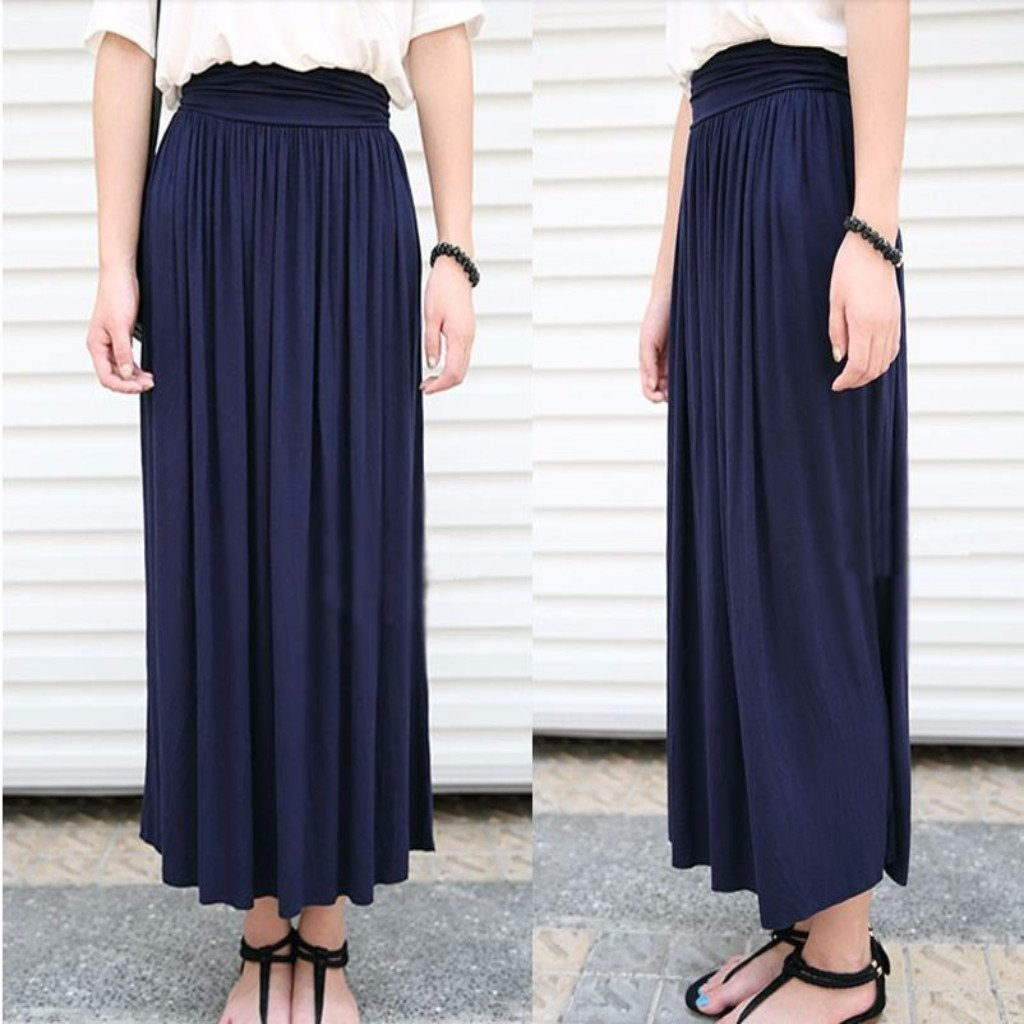Ss for less maxi skirts one size blue summer pleated stretchable women maxi skirts 1371054866463