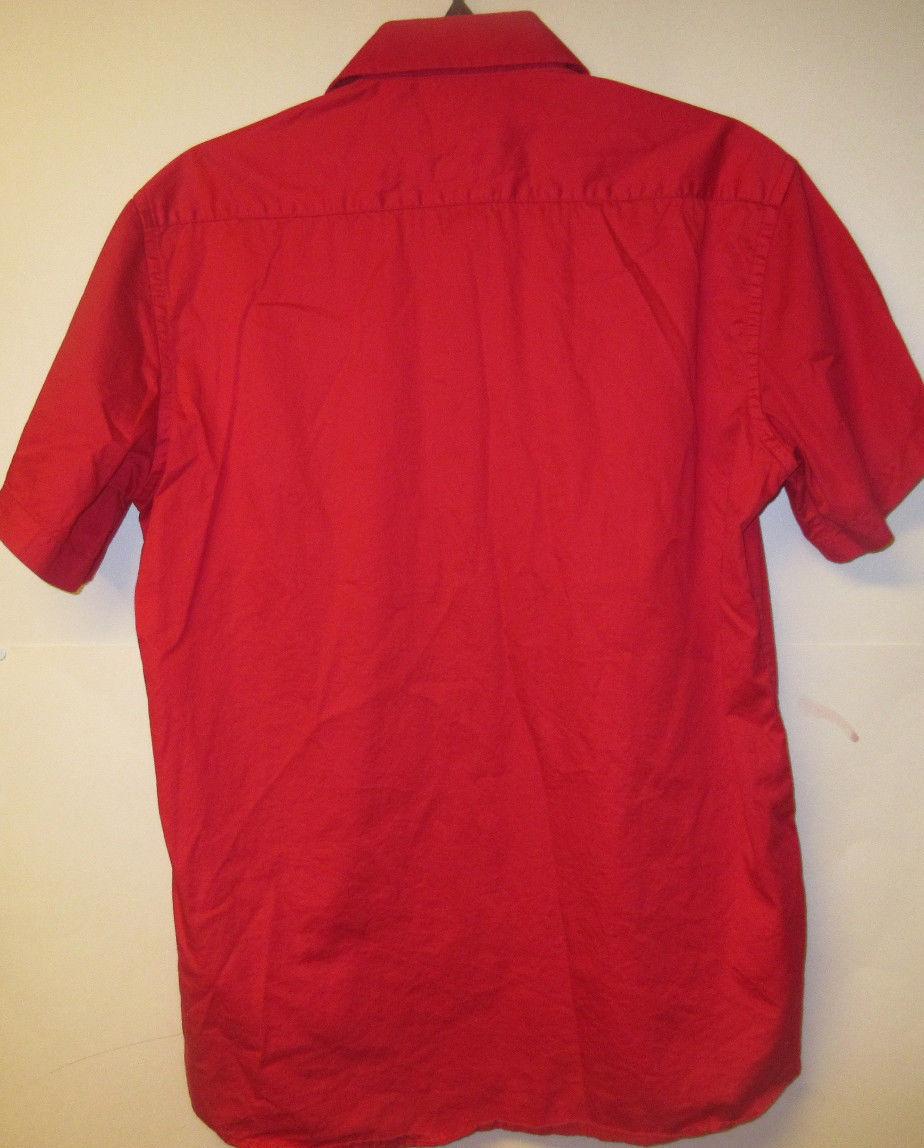 Portabella Fashion Women's Modern Fit Button Down Shirt Top Blouse Red Size M
